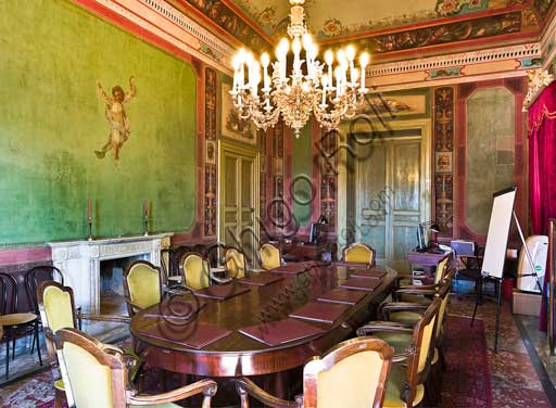 Palermo, The Royal Palace or Palazzo dei Normanni (Palace of the Normans), The Royal Apartment, The Gregorietti Room (the room beside the Pompeiana Room): view. This one is the reading room for the members of the Parliament.