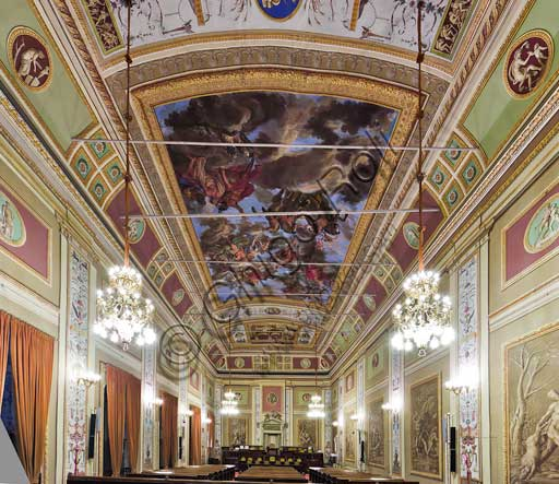 Palermo, The Royal Palace or Palazzo dei Normanni (Palace of the Normans), the Royal Apartment, The Hercules Hall (Parliament of the Sicily Regional Assembly): view of the Hall.