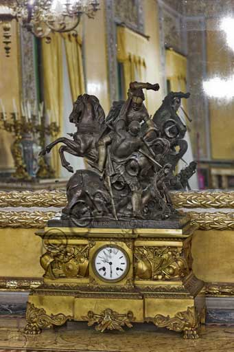 Palermo, The Royal Palace or Palazzo dei Normanni (Palace of the Normans), The Royal Apartment, The Yellow Room: table clock in bronze and golden wood, XIX century.
