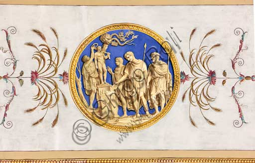 Palermo, The Royal Palace or Palazzo dei Normanni (Palace of the Normans), the Royal Apartment, The Hercules Hall (Parliament of the Sicily Regional Assembly), the vault, decorative frieze: Medallion with the Veneration of Hercules, dry wall painting by Giuseppe Velasco, 1812.