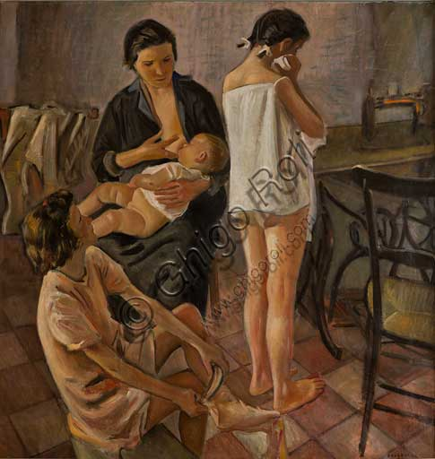 Palermo, The Royal Palace or Palazzo dei Normanni (Palace of the Normans), Studio Alaimo: oil painting by Alfonso Amorelli which represents a mother breastfeeding her baby and two girls.