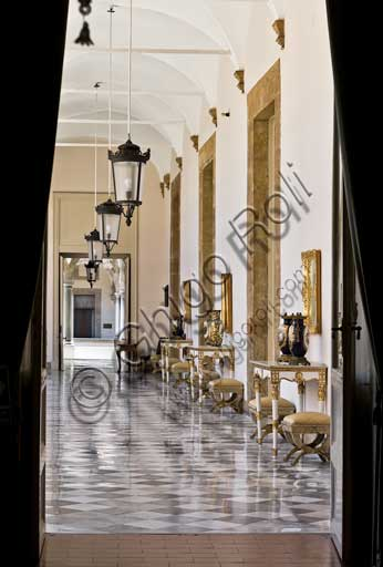 Palermo, The Royal Palace or Palazzo dei Normanni (Palace of the Normans), The Royal Apartment: corridor which leads to the Viceroy Room.