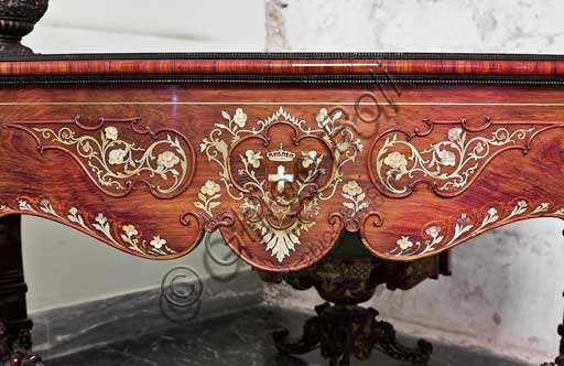 Palermo, The Royal Palace or Palazzo dei Normanni (Palace of the Normans), The Royal Apartment, Room of the Peeling Walls or Former Presidents: desk inlaid in rosewood, boxwood and mother-of-pearl, by Sicilian cabinet makers, XIX century. Detail.