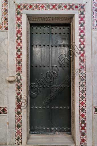 Palermo, The Royal Palace or Palazzo dei Normanni (Palace of the Normans), The Palatine Chapel (Basilica), Northern wall: door with geometric pattern decoration.