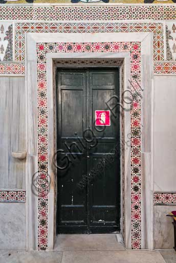 Palermo, The Royal Palace or Palazzo dei Normanni (Palace of the Normans), The Palatine Chapel (Basilica), Southern wall: door with geometric pattern decoration.