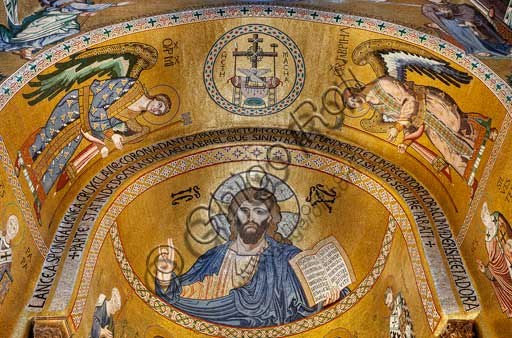 Palermo, The Royal Palace or Palazzo dei Normanni (Palace of the Normans), The Palatine Chapel (Basilica), the apse, the bowl-shaped vault: the mosaic of Christ Pantocrator (1143).(1143)
