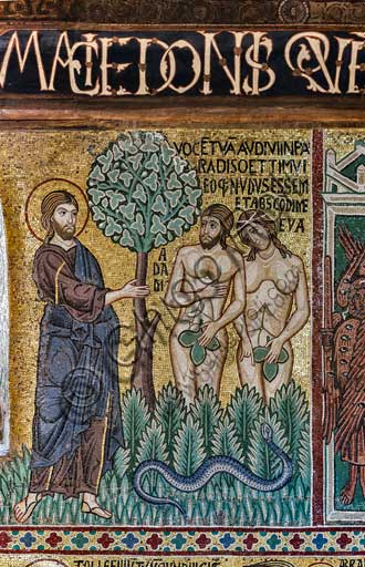 "Palermo, The Royal Palace or Palazzo dei Normanni (Palace of the Normans), The Palatine Chapel (Basilica), cycle of mosaics on the Old Testament, cycle of the Creation: ""Adam and Eve facing God after eating the forbidden fruit"", XII century."