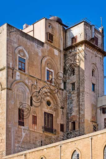 Palermo, The Royal Palace or Palazzo dei Normanni (Palace of the Normans): view of the North-East side of the Pisan Tower.