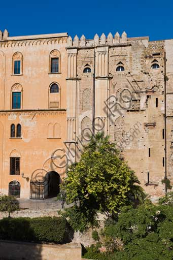 Palermo, The Royal Palace or Palazzo dei Normanni (Palace of the Normans): the  Easternfaçade in its variegated juxtaposition of medieval and modern volumes.