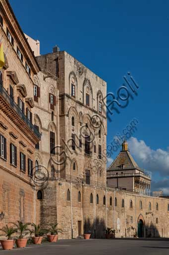 Palermo, The Royal Palace or Palazzo dei Normanni (Palace of the Normans), North-East side: view of the the Pisan Tower and the Porta Nuova Tower.