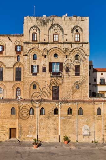 Palermo, The Royal Palace or Palazzo dei Normanni (Palace of the Normans): view of the North-East façade of the Pisan Tower.