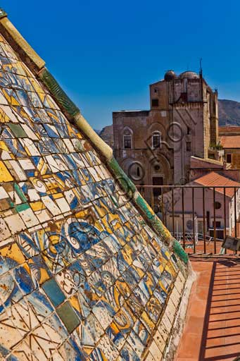Palermo, The Royal Palace or Palazzo dei Normanni (Palace of the Normans), the Porta Nuova Tower: the pyramidal roof covered with polychrome majolica tiles with the image of an eagle with spread wings, designed by the architect Gaspare Guercio in 1663.