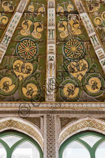 Palermo, The Royal Palace or Palazzo dei Normanni (Palace of the Normans), Joharia Tower, the Winds Room: wooden cusp with the Rose of the Winds  (Compass Rose) at its centre. Detail.