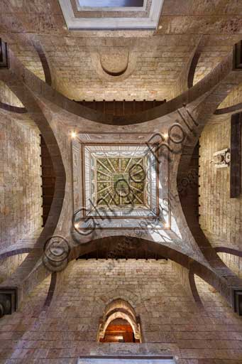 Palermo, The Royal Palace or Palazzo dei Normanni (Palace of the Normans), Joharia Tower, the Winds Room: wooden cusp with the Rose of the Winds  (Compass Rose) at its centre. Zenithal view.