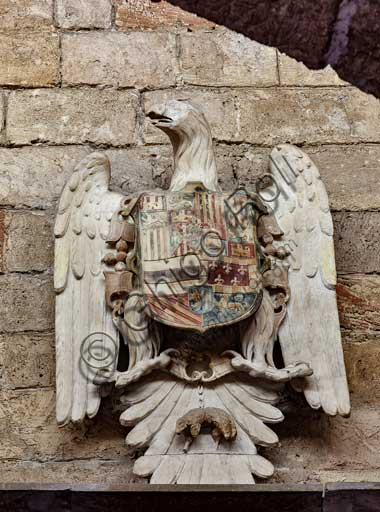 Palermo, The Royal Palace or Palazzo dei Normanni (Palace of the Normans), Joharia Tower, the Winds Room: sculpture representing emblem of the Borbones.