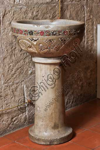 Palermo, The Royal Palace or Palazzo dei Normanni (Palace of the Normans), Offices of the Presidency: basin decorated in opus sectile. It may be a holy water font (XII - XIII centuries)