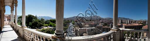 Palermo, The Royal Palace or Palazzo dei Normanni (Palace of the Normans): view from the loggia of the Porta Nuova Tower on the city, Calatafimi Avenue and the hill of Monreale.