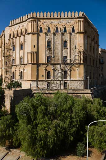 Palermo, The Royal Palace or Palazzo dei Normanni (Palace of the Normans): view of the South West side.