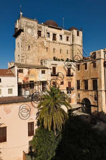 Palermo, The Royal Palace or Palazzo dei Normanni (Palace of the Normans): view of the Pisan Tower from South-West.