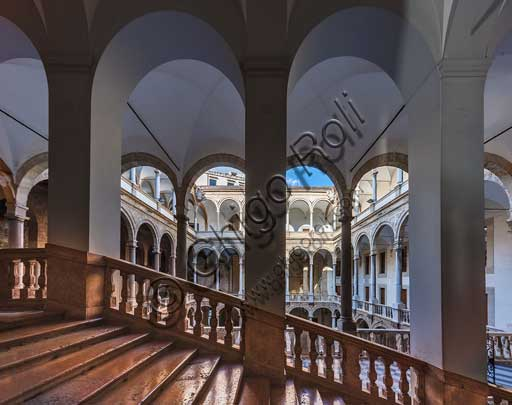 Palermo, The Royal Palace or Palazzo dei Normanni (Palace of the Normans): view of the Maqueda courtyard from the monumental staircase.