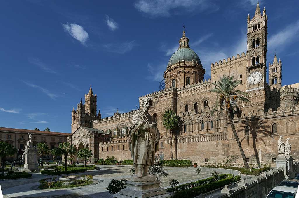 Palermo: view of the southeast side of the Cathedral (Metropolitan Cathedral dedicated to the Assumption of the Virgin Mary). UNESCO site: Arab-Norman Palermo and the cathedrals of Cefalù and Monreale.