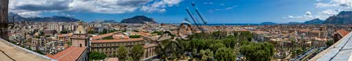 Palermo: orbicular view of the town from the Porta Nuova Tower.