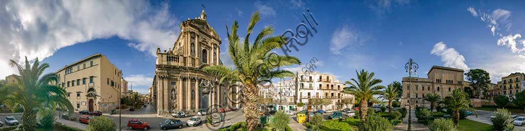 Palermo: orbicular view of the Kalsa Square, including the Church of St. Teresa.
