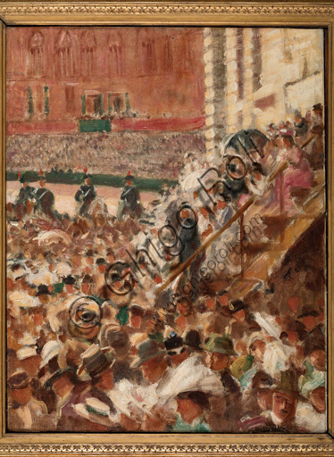 "Assicoop - Unipol Collection: Aroldo Bonzagni (1887 - 1918), ""The Palio of Siena (horse race)"", oil on canvas, cm 71 X 55."