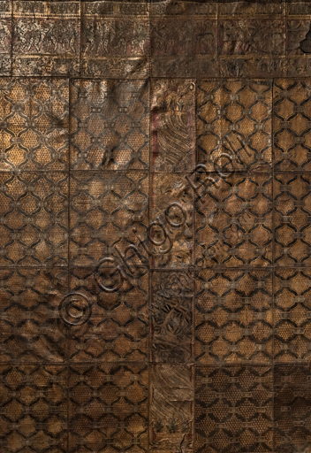 Leather panel of the Stefano Bardini Collection of XVI century leather artifacts.