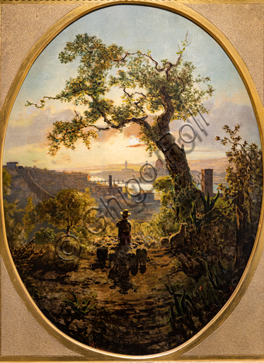 """Telemaco Signorini: """"Landscape of Florence grom the hill of St. Miniato"""",  1856, oil painting on canvas."""