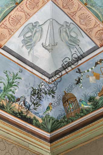 Palermo, The Royal Palace or Palazzo dei Normanni (Palace of the Normans), The Royal Apartment, the Birds Room, the frescoed vault: detail with parrots, a cage and flowers.