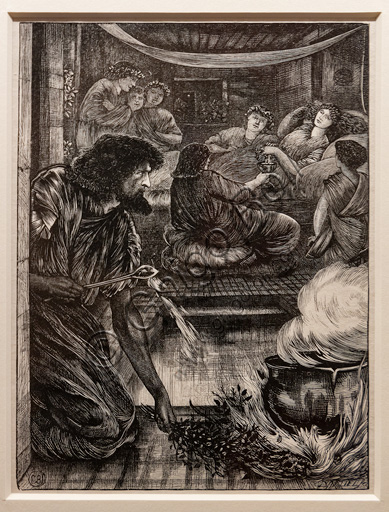 """Parable of the boiling pot"""", (1881)  by Edward Coley Burne Jones (1833 - 1895), relief print on paper."""