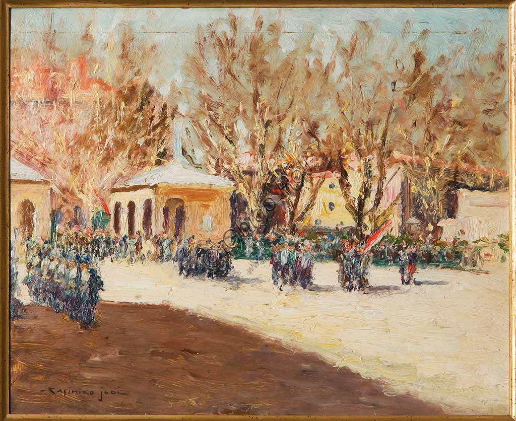 "Assicoop - Unipol Collection: Casimiro Jodi (1886-1948), ""Militar Procession"". Oil on cardboard, cm. 27x35."