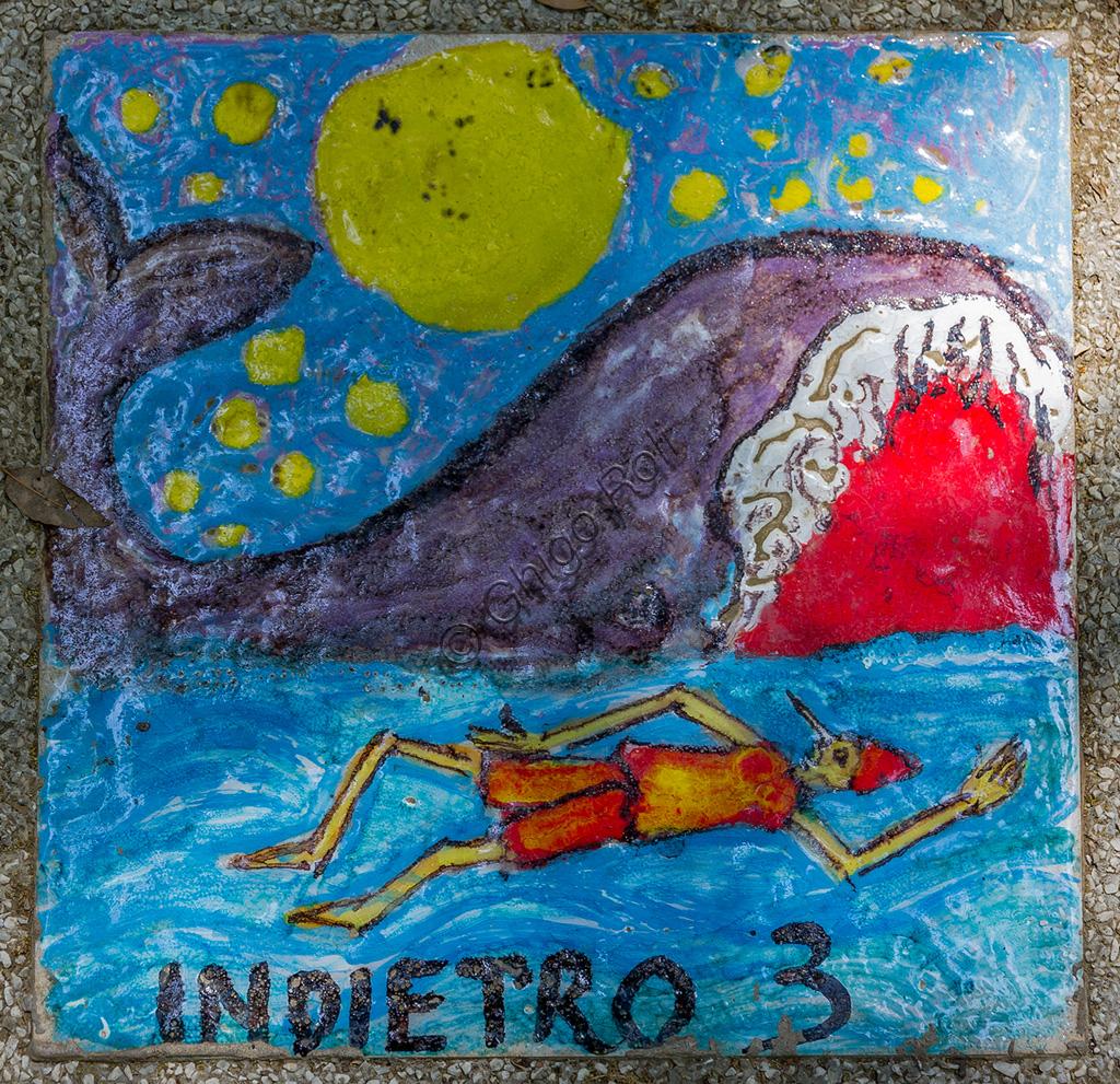 Parco di Pinocchio: il Gioco dell'Oca, di E.Taccini. Scena con Pinocchio e la balena.