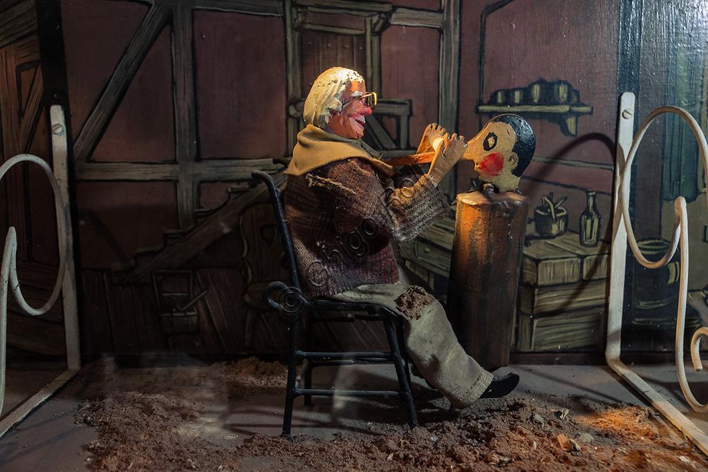 Parco di Pinocchio, il Teatro Meccanico: Geppetto crea Pinocchio.