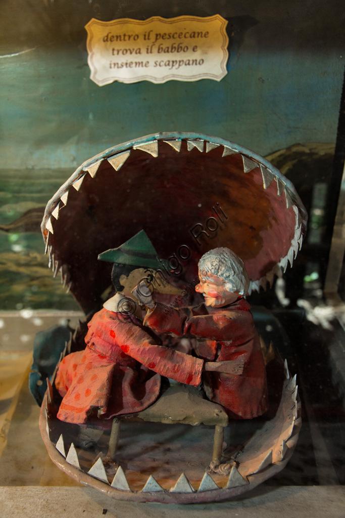 Parco di Pinocchio, il Teatro Meccanico: Pinocchio ritrova Geppetto nel Pescecane.