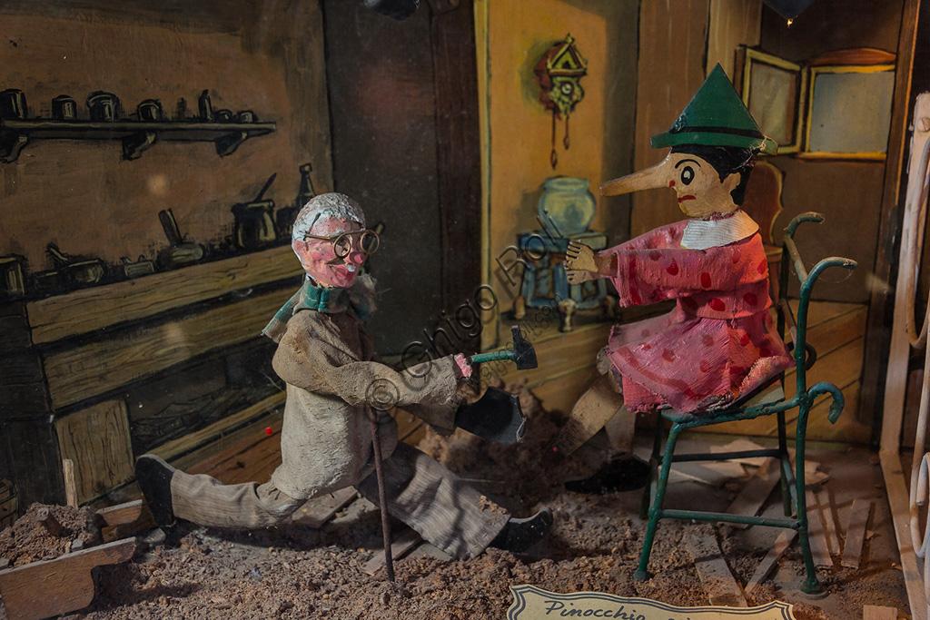 Parco di Pinocchio, il Teatro Meccanico: una delle scene con Pinocchio e Geppetto.