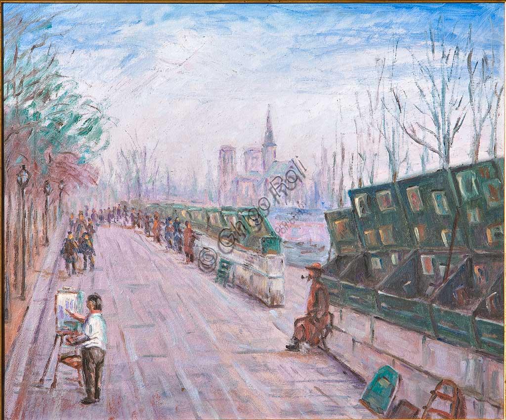 """Collezione Assicoop - Unipol: Augusto Zoboli (1894-1991), """"Parigi"""". Olio su tela, cm. 50x60."""