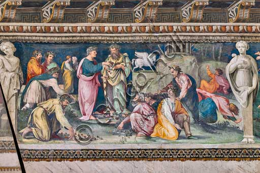 Rome, Villa Farnesina, The Hall of Perspectives: the ample frieze with mythological scenes.  Detail of the Parnassus, with Pegasus and Poets. Frescoes by Baldassarre Peruzzi and workshop (1517-18).