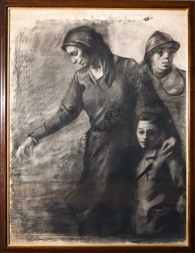 "Assicoop - Unipol Collection: Nereo Annovi (1908-1981), ""The Departure"". Charcoal drawing on paper, cm 149 x 112."