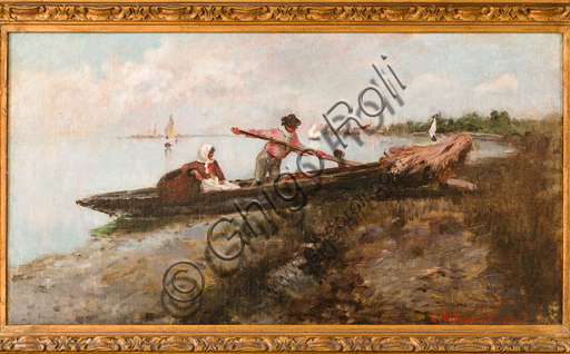 "Giuseppe Miti Zanetti: ""Departure from Cavallino"" Oil painting on canvas, cm 32,5 x 52,5."