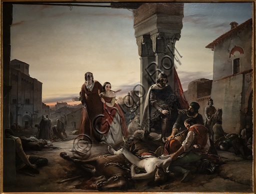 "Pasquale Massacra: ""Ricciardino Langosco's mother searching the corpse of her son killed during the conquest of Pavia at the hands of  Matteo Visconti in 1315"", oil painting on canvas,  1846."