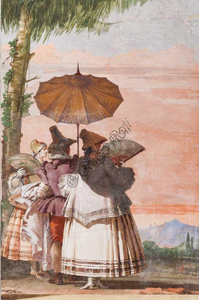 """Vicenza, Villa Valmarana ai Nani, Foresteria, Stanza delle finte architetture gotiche: """"Passeggiata estiva""""; affresco di Giandomenico Tiepolo, 1757."""