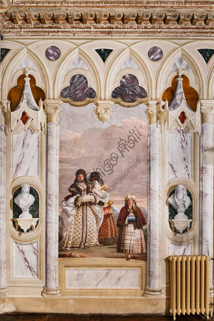 """Vicenza, Villa Valmarana ai Nani, Foresteria, Stanza delle finte architetture gotiche: """"Passeggiata invernale""""; affresco di Giandomenico Tiepolo, 1757."""