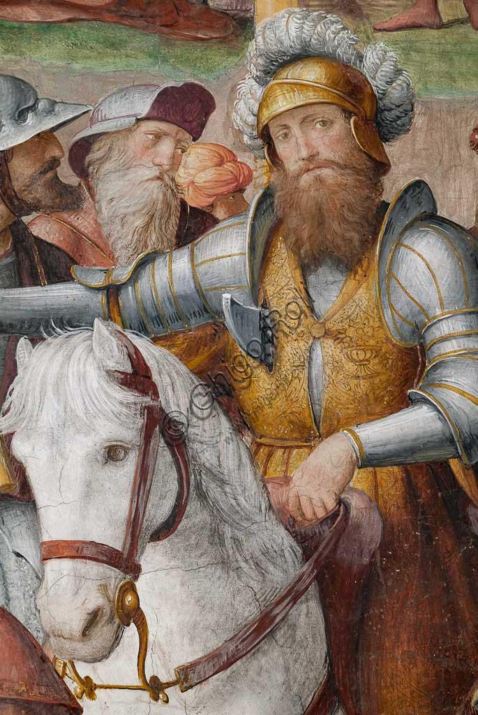 """Lugano, Chiesa di S.ta Maria degli Angeli: """"Passione e Crocifissione di Cristo"""", affreschi di Bernardino Luini, 1529. Particolare con uomo a cavallo."""