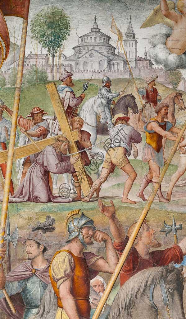"""Lugano, Chiesa di S.ta Maria degli Angeli: """"Passione e Crocifissione di Cristo"""", affreschi di Bernardino Luini, 1529. Particolare con """"Gesù che cade sotto la croce""""."""