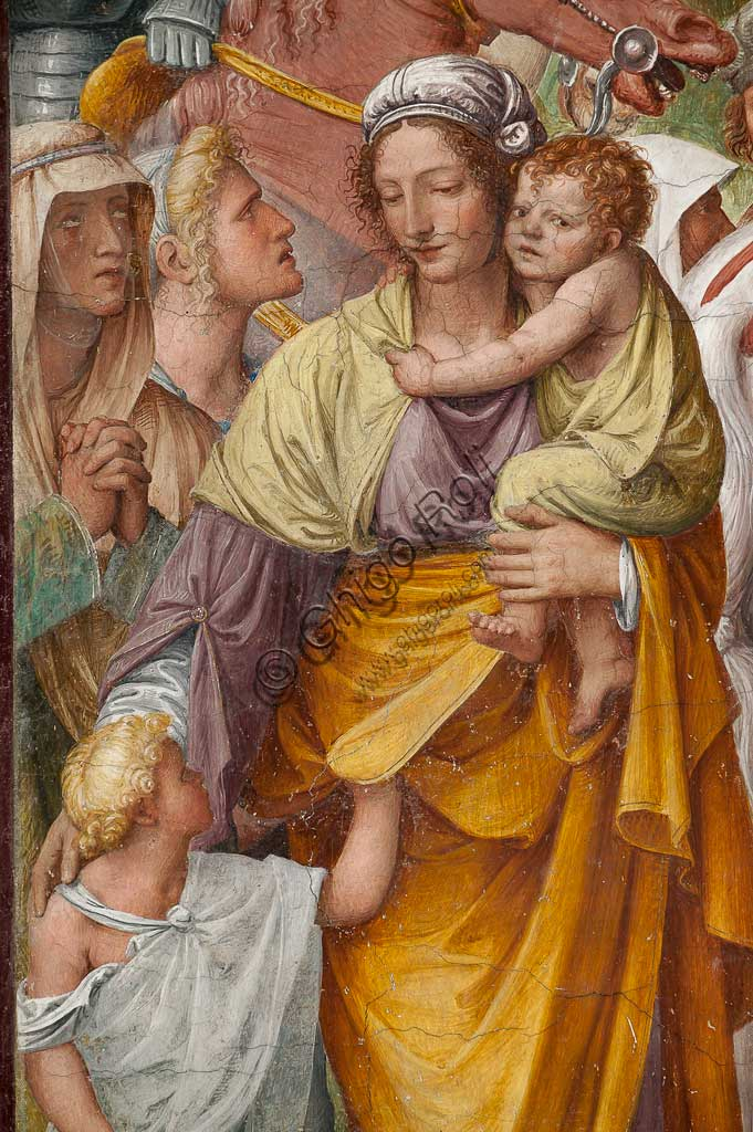 "Lugano, Church of St. Mary of Angels: ""Passion and Crucifixion of Christ"", frescoes by Bernardino Luini, 1529. Detail with woman and children."