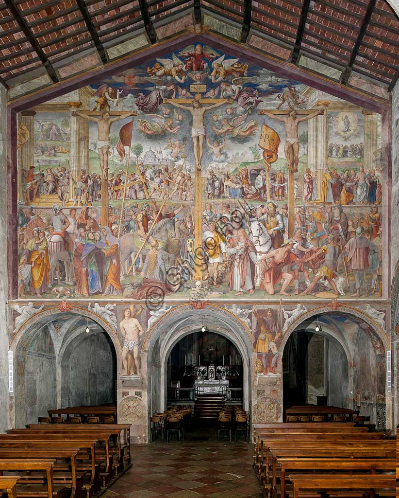 "Lugano, Church of St. Mary of Angels: ""Passion and Crucifixion of Christ"", frescoes by Bernardino Luini, 1529."