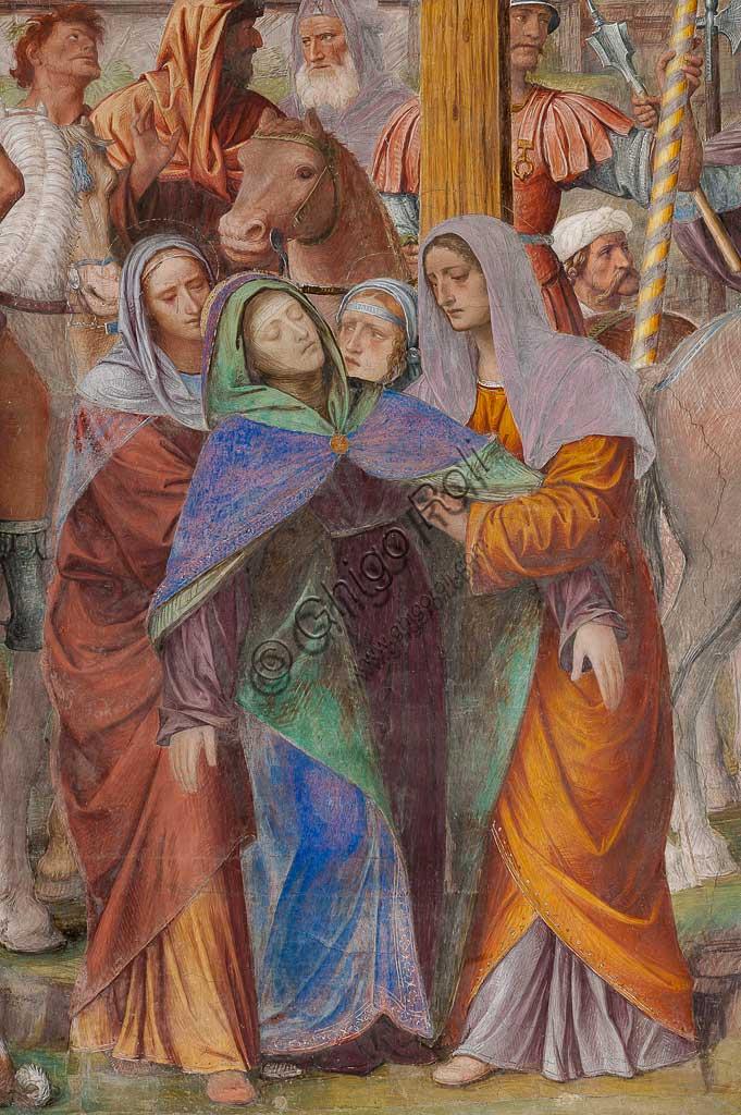 """Lugano, Chiesa di S.ta Maria degli Angeli: """"Passione e Crocifissione di Cristo"""", affreschi di Bernardino Luini, 1529. Particolare con la Madonna ai piedi della Croce."""