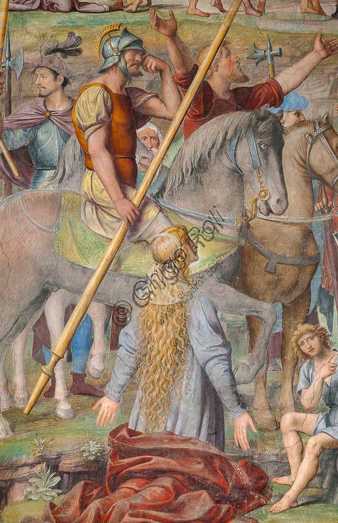 """Lugano, Chiesa di S.ta Maria degli Angeli: """"Passione e Crocifissione di Cristo"""", affreschi di Bernardino Luini, 1529. Particolare con donna e soldato a cavallo."""